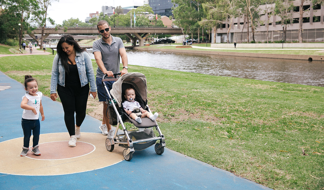 Family walking along Parramatta River.