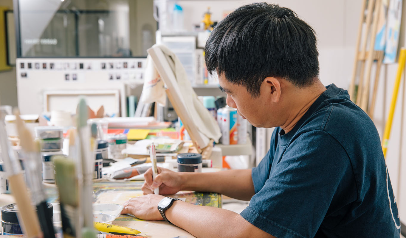Garry Trinh in his studio, Parramatta Artists Studios. Image: Jacquie Manning