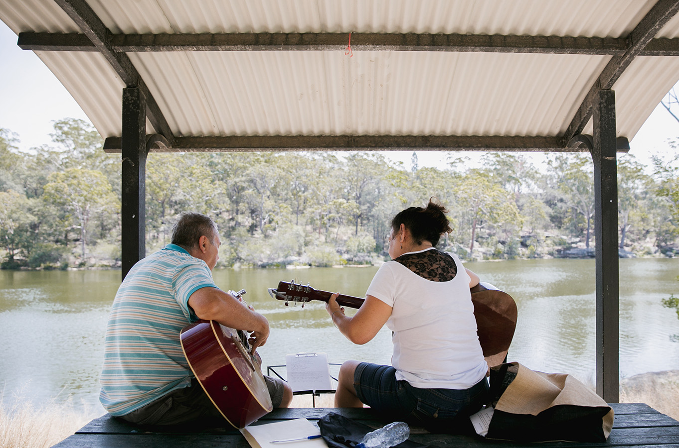 Playing guitars at Lake Parramatta