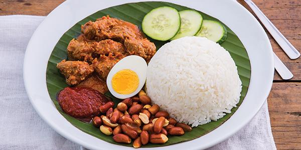 Nasi Lemak with Vegetarian Curry Mutton Papparich Supplied