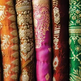 Colourful Saris in a row