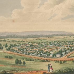 panoramic view across the early settlement of Parramatta