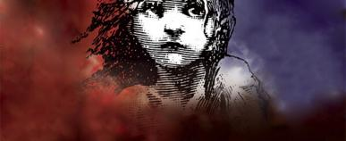 iconic image of Les Miserables line drawing of young girl