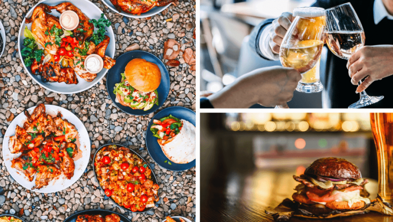 3 photos of food and drinks in a restaurant setting